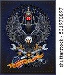motorbike and skeleton rider... | Shutterstock .eps vector #531970897