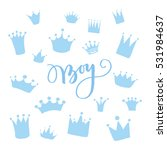 vector set of hand drawn crowns ... | Shutterstock .eps vector #531984637