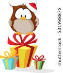 cute owl with santas hat... | Shutterstock .eps vector #531988873