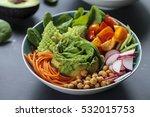 buddha bowl of mixed vegetable... | Shutterstock . vector #532015753
