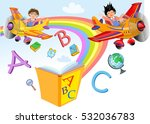 kids playing with letters.... | Shutterstock .eps vector #532036783