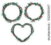 decorative floral wreath set.... | Shutterstock .eps vector #532050547