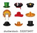 hat set with black cylinder ... | Shutterstock .eps vector #532073497