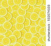 bright lemon slices seamless... | Shutterstock . vector #532074103