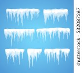 vector icicle and snow elements ... | Shutterstock .eps vector #532087267
