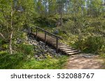 Wooden Stair On A Hiking Path...