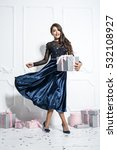 elegant model in a trendy blue... | Shutterstock . vector #532108927