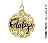 hanging christmas ball with a... | Shutterstock .eps vector #532127173
