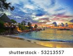 Stock photo cafe on tropical beach at sunset nature background 53213557