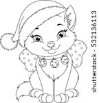 christmas cat coloring page | Shutterstock .eps vector #532136113