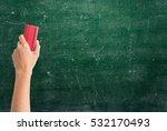 hand holding brush erase on... | Shutterstock . vector #532170493