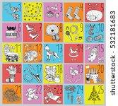 christmas advent calendar with... | Shutterstock .eps vector #532181683