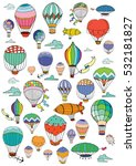 hot air balloons in the sky.... | Shutterstock .eps vector #532181827