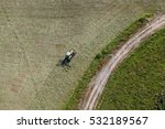 aerial view of tractor on green ...   Shutterstock . vector #532189567
