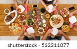 people eat healthy meals with... | Shutterstock . vector #532211077