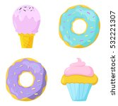 cute sweet food icons set.... | Shutterstock .eps vector #532221307