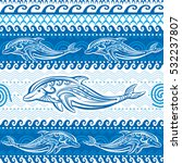 seamless pattern with dolphins | Shutterstock .eps vector #532237807