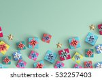 lot of gift boxes on color... | Shutterstock . vector #532257403