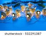 christmas garland lights on... | Shutterstock . vector #532291387