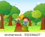 two boys playing with ball on... | Shutterstock .eps vector #532336627