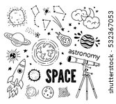 astronomy objects vector set.... | Shutterstock .eps vector #532367053