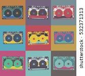 audiocassette retro popart... | Shutterstock . vector #532371313