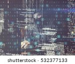 3d hacker using laptop in dark... | Shutterstock . vector #532377133