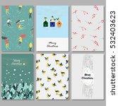 set of christmas cards. hand... | Shutterstock .eps vector #532403623
