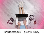 young woman sitting on floor... | Shutterstock . vector #532417327
