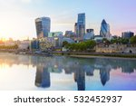 Small photo of London skyline, city of London at dusk