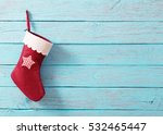 christmas sock with gifts on ... | Shutterstock . vector #532465447