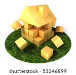 a house build of blocks and... | Shutterstock . vector #53246899
