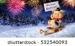 lucky pig on a sleigh holding a ... | Shutterstock . vector #532540093