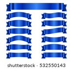 blue ribbons set. satin blank...   Shutterstock . vector #532550143
