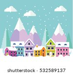 winter forest landscape with... | Shutterstock .eps vector #532589137