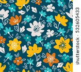 vector floral pattern in doodle ... | Shutterstock .eps vector #532605433