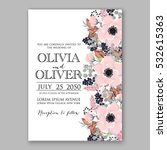 wedding invitation floral... | Shutterstock .eps vector #532615363