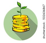money tree sprout grows from... | Shutterstock .eps vector #532636867