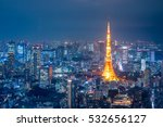 aerial view over tokyo tower...   Shutterstock . vector #532656127