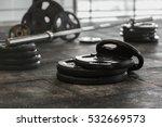 disassembled barbell on floor... | Shutterstock . vector #532669573