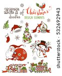 Vector set of Christmas design elements isolated on white background. Christmas tree and baubles, Santa with sack, snowman with garland, Santa hat and sock, gifts and bell, bird, snowflakes.