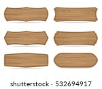 set of 6 shapes wooden sign... | Shutterstock .eps vector #532694917