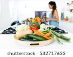 close up of plate of fresh... | Shutterstock . vector #532717633