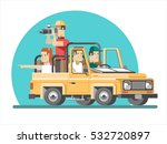 a group of tourists on the car. ... | Shutterstock .eps vector #532720897