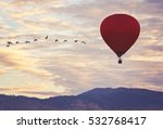hot air balloon in the sky... | Shutterstock . vector #532768417