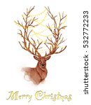 beautiful deer with lights on... | Shutterstock . vector #532772233