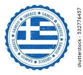 Samos Flag Badge. Grunge Rubbe...
