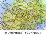 geographic map of michigan close | Shutterstock . vector #532778077
