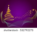 christmas tree with golden... | Shutterstock .eps vector #532792273