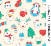 gingerbread seamless pattern | Shutterstock .eps vector #532798447